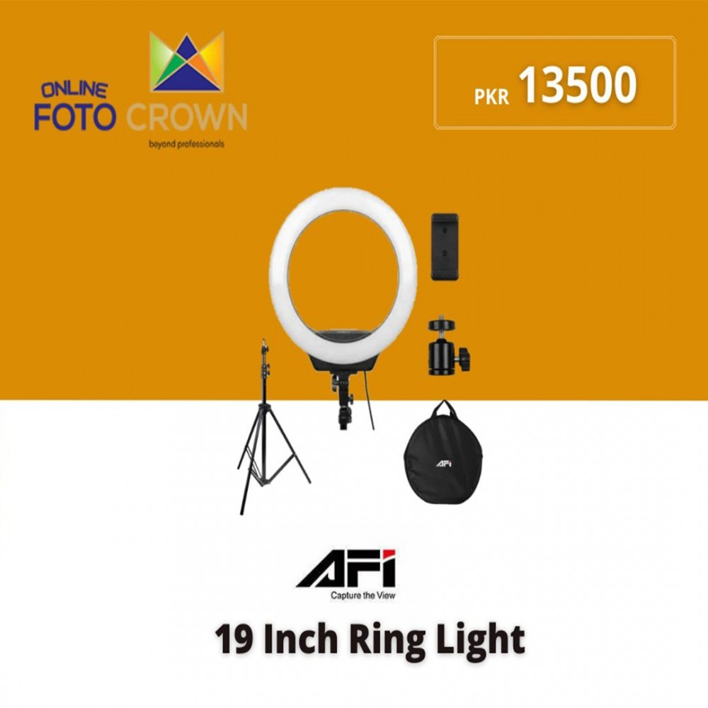 """AFI R219 19"""" LED Ring Light With Tripod Stand Bundle"""