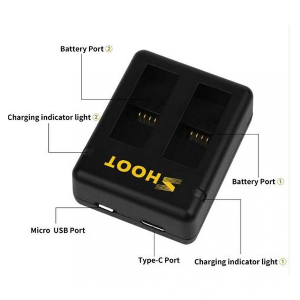 Dual Battery Charger For Gopro Hero 8